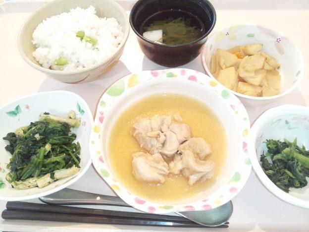8月2日夕食(鶏肉のおろし煮・枝豆御飯) #病院食