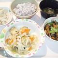 9月15日夕食(生揚入り味噌野菜炒め・ゆかり御飯) #病院食