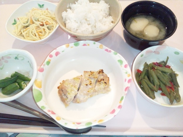 Photos: 9月18日夕食(鶏の塩麹焼き) #病院食