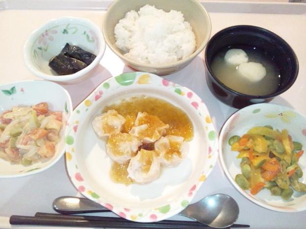 9月22日夕食(焼売の葱醤油がけ) #病院食