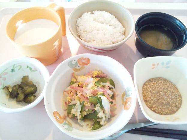 9月24日朝食(ハムと野菜のソテー) #病院食