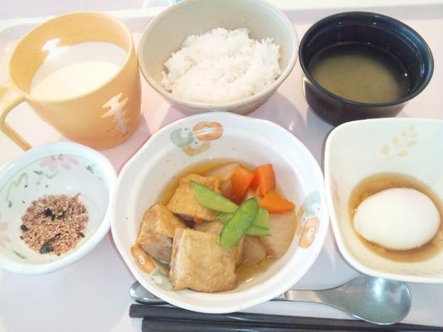 10月14日朝食(肉詰めいなりの煮物) #病院食