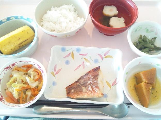 10月14日昼食(赤魚の西京焼き) #病院食