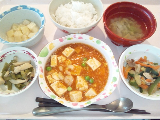 10月16日昼食(海老と豆腐のチリソース) #病院食