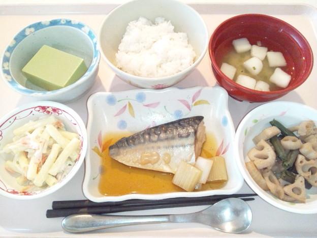 10月17日昼食(鯖の煮付け) #病院食