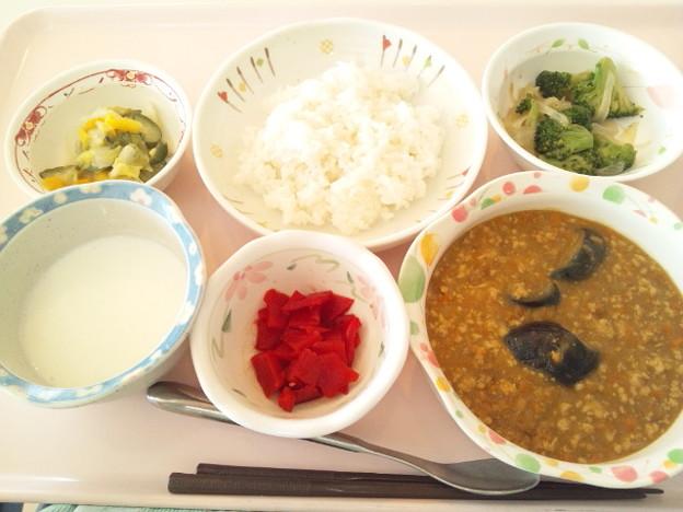 10月18日昼食(茄子とひき肉のカレーライス) #病院食