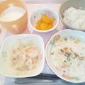 10月19日朝食(クラムチャウダー) #病院食