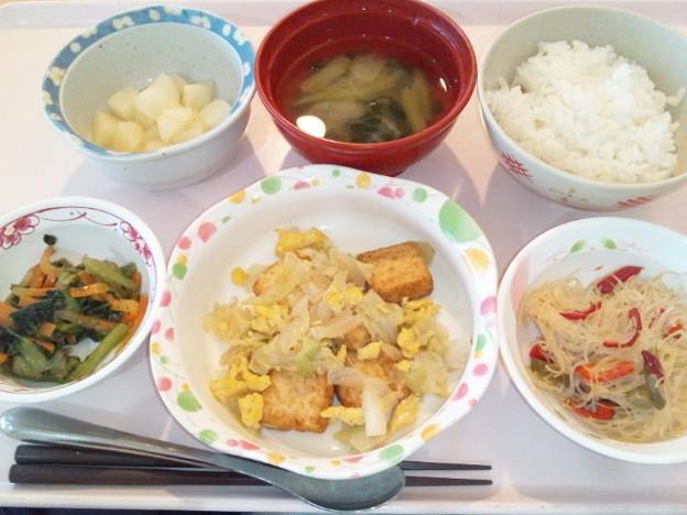 10月22日昼食(厚揚げ入り玉子野菜炒め) #病院食