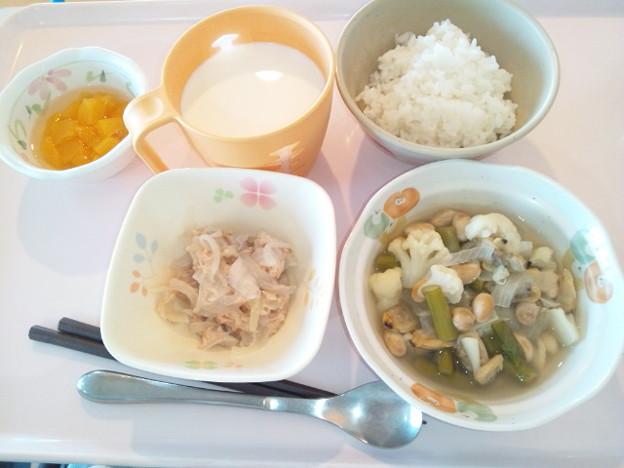 10月23日朝食(あさりと野菜のバターコンソメ煮) #病院食