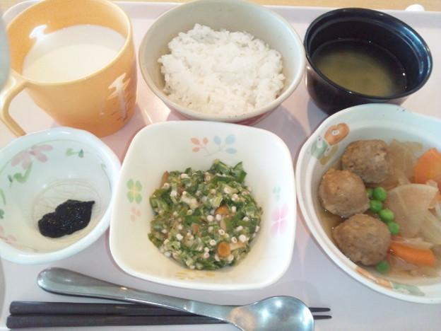 10月25日朝食(肉団子と大根の煮物) #病院食