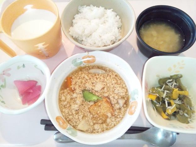 10月26日朝食(厚揚げの煮物) #病院食