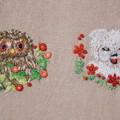 犬とフクロウを刺繍する