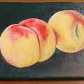 油絵 桃を描く