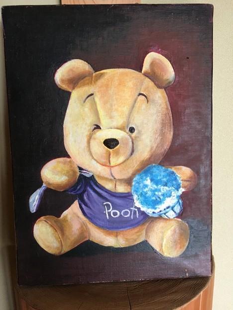 Photos: 油絵 クマのプーさんのぬいぐるみを描く