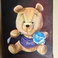油絵 クマのプーさんのぬいぐるみを描く