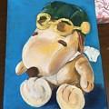 油絵 スヌーピーのぬいぐるみを描く