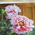 油絵 家で咲いた牡丹を描く