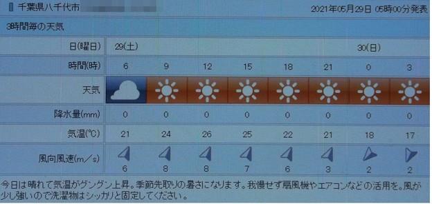 2021/05/29(土)・千葉県八千代市の天気予報