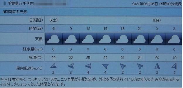 2021/06/05(土)・千葉県八千代市の天気予報