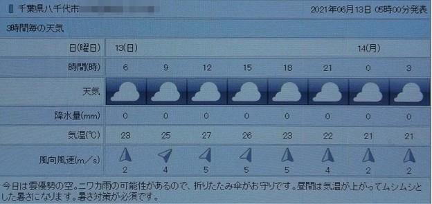 2021/06/13(日)・千葉県八千代市の天気予報