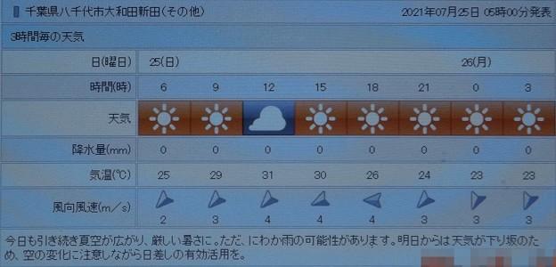 Photos: 2021/07/25(日)・千葉県八千代市の天気予報